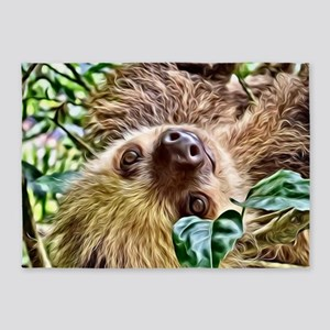 Painted Sloth 5'x7'Area Rug