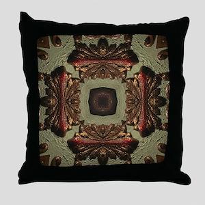 Vintage Green Rustic Bronze Pattern Throw Pillow