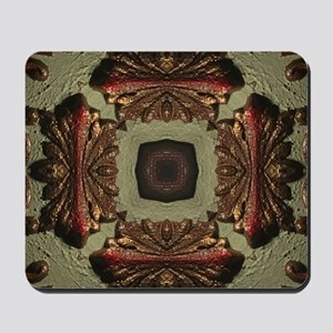 Vintage Green Rustic Bronze Pattern Mousepad
