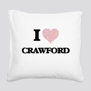 I Love Crawford Square Canvas Pillow