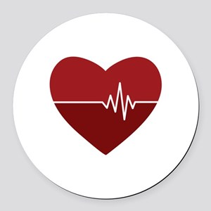 Heartbeat Round Car Magnet