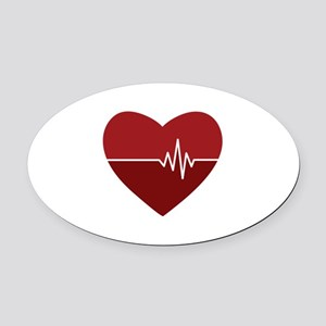 Heartbeat Oval Car Magnet