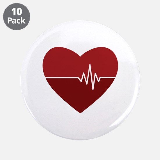 """Heartbeat 3.5"""" Button (10 pack)"""