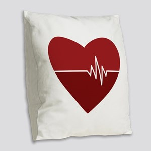 Heartbeat Burlap Throw Pillow