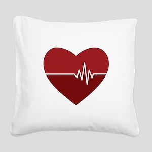 Heartbeat Square Canvas Pillow