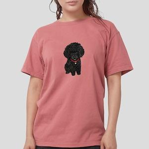 Black Poodle Puppy Womens Comfort Colors Shirt
