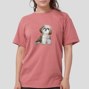 Shih Tzu (red-wht) Womens Comfort Colors Shirt