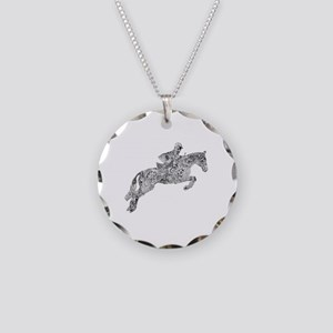 Horse Jumping Doodles Necklace Circle Charm
