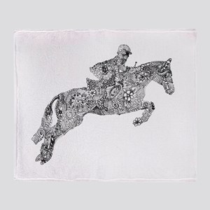 Horse Jumping Doodles Throw Blanket