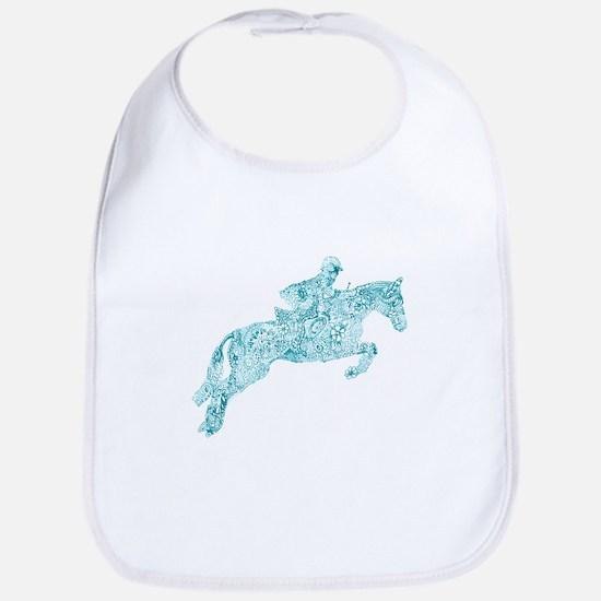 Doodle Horse Show Jumping Illustration Turquoi Bib