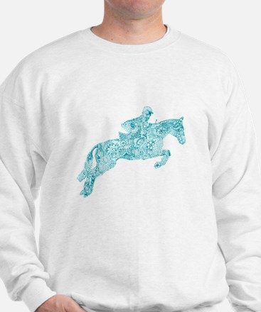 Doodle Horse Show Jumping Illustration Sweatshirt