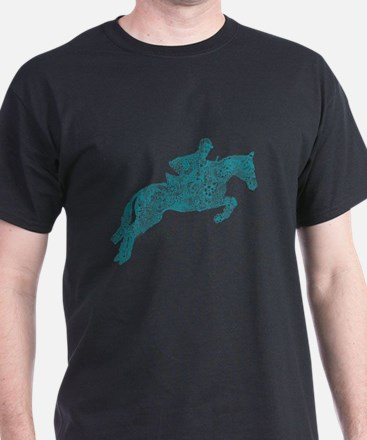 Doodle Horse Show Jumping Illustration Tur T-Shirt
