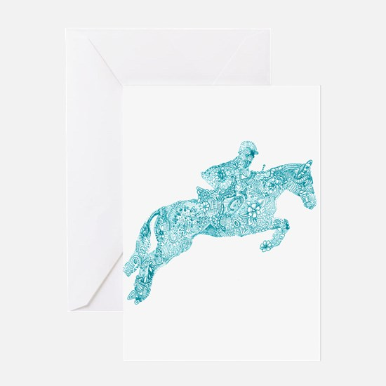Doodle Horse Show Jumping Illustrat Greeting Cards