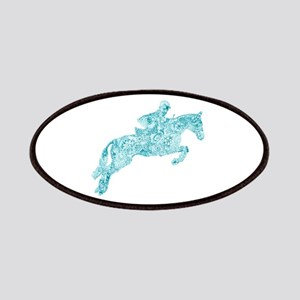 Doodle Horse Show Jumping Illustration Turqu Patch