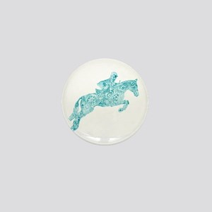 Doodle Horse Show Jumping Illustration Mini Button