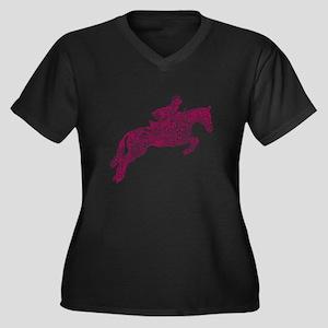 Doodle Horse Show Jumping Illust Plus Size T-Shirt