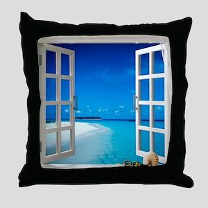 Open Window With Ocean View Throw Pillow