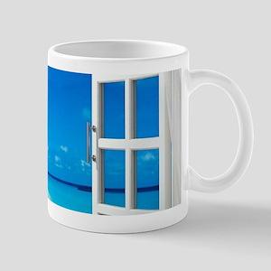 Open Window With Ocean View Mugs