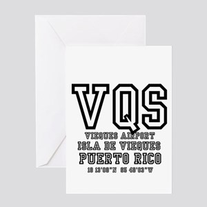 AIRPORT CODES - VQS, ISLA DE VIEQUE Greeting Cards