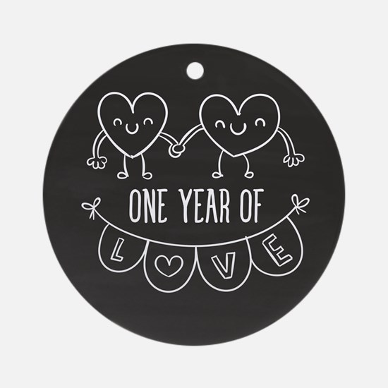 1st Anniversary Chalkboard Hearts Round Ornament