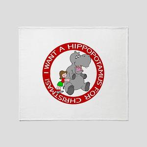 Hippopotamus for Christmas Throw Blanket