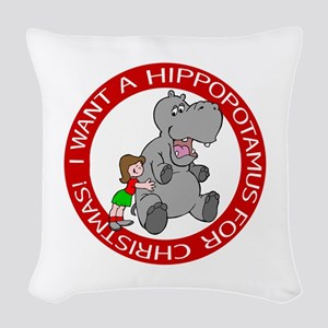 Hippopotamus for Christmas Woven Throw Pillow