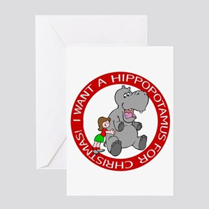 Hippopotamus For Christmas Greeting Greeting Cards