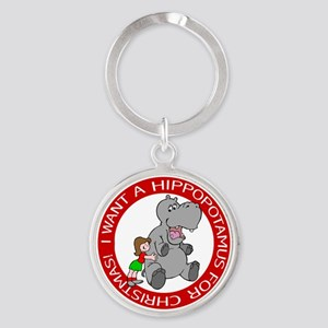 Hippopotamus For Christmas Keychains