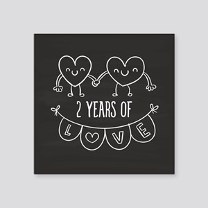 "2nd Anniversary Gift Chalkb Square Sticker 3"" x 3"""