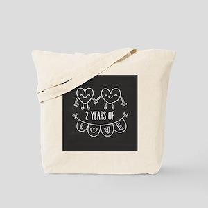2nd Anniversary Gift Chalkboard Hearts Tote Bag