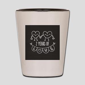 2nd Anniversary Gift Chalkboard Hearts Shot Glass