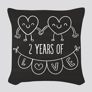 2nd Anniversary Gift Chalkboar Woven Throw Pillow