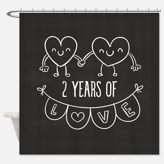 2nd Anniversary Gift Chalkboard Hea Shower Curtain