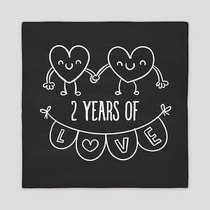 2nd Anniversary Gift Chalkboard Hearts Queen Duvet