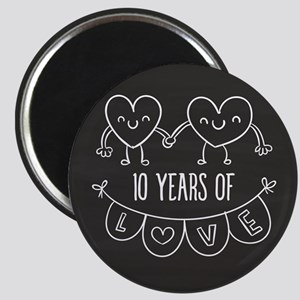 10th Anniversary Gift Chalkboard Hearts Magnet