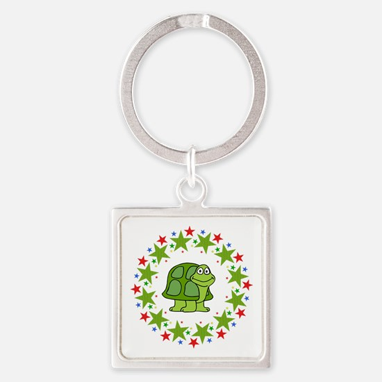 Turtle in Stars Square Keychain