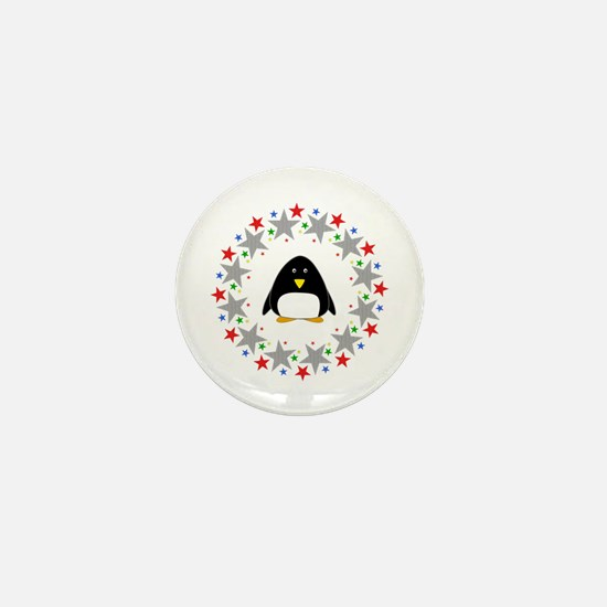 Penguin in Stars Mini Button