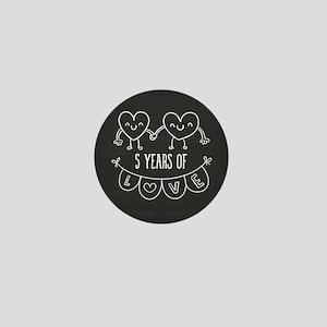 5th Anniversary Gift Chalkboard Hearts Mini Button