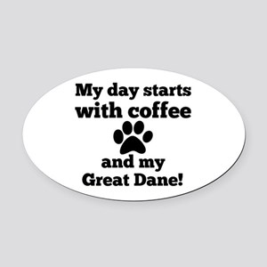 My day starts with Coffee and my G Oval Car Magnet