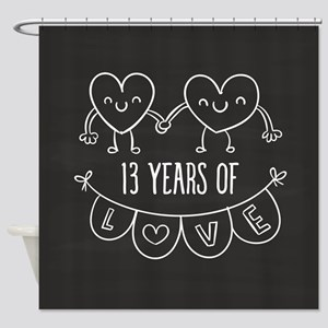 13th Anniversary Gift Chalkboard He Shower Curtain