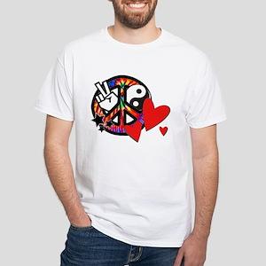 Peace & Love White T-Shirt