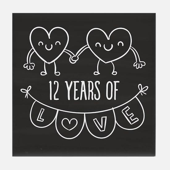 12th Anniversary Gift Chalkboard Hear Tile Coaster
