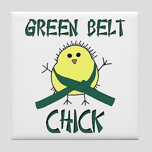 Green Belt Chick Tile Coaster