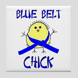 Blue Belt Chick Tile Coaster