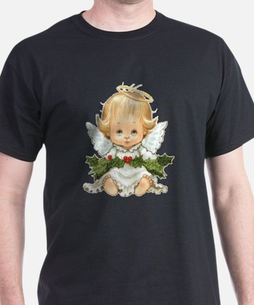 Cute Christmas Baby Angel And Holly T-Shirt