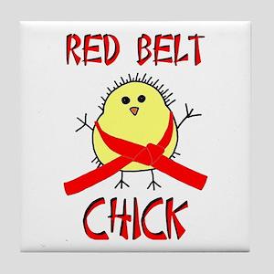 Red Belt Chick Tile Coaster