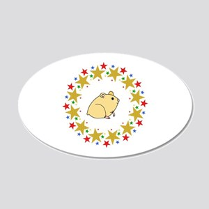 Hamster in Stars 20x12 Oval Wall Decal