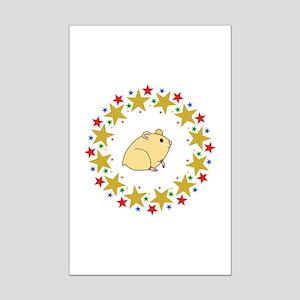 Hamster in Stars Mini Poster Print