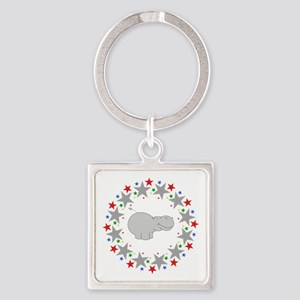 Hippo in Stars Square Keychain