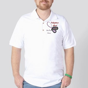 Colored Red text BC Dog Tag Golf Shirt